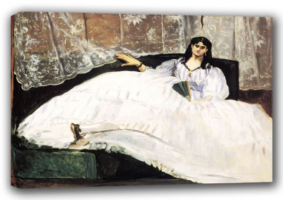 Manet, Edouard: Baudelaire's Mistress Reclining/Portrait of Jeanne Duval, 1862. Fine Art Canvas. Sizes: A3/A2/A1 (00672)